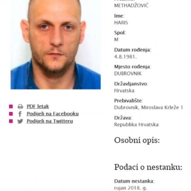 Nestali Dubrovčanin Haris Methadžović