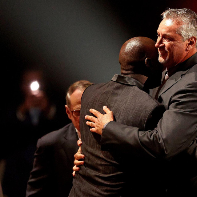SPRINGFIELD, MASSACHUSETTS - SEPTEMBER 11: Toni Kukoc is congratulated by Michael Jordan during the 2021Naismith Memorial Basketball Hall of Fame ceremony at Symphony Hall on September 11, 2021 in Springfield, Massachusetts. Maddie Meyer/Getty Images/AFP<br /> == FOR NEWSPAPERS, INTERNET, TELCOS & TELEVISION USE ONLY ==