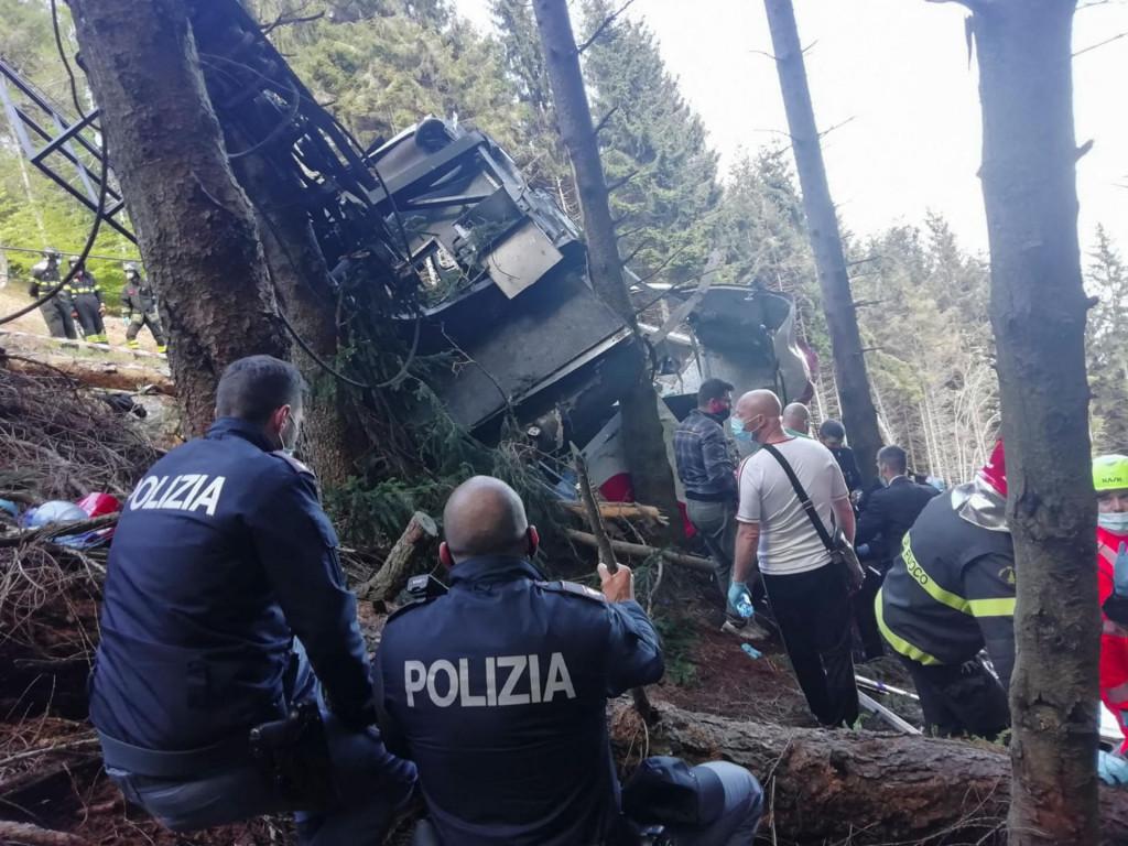 Mjesto pada gondole u talijanskom dijelu Alpa