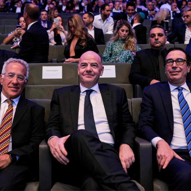 Sylvan Adams, Gianni Infantino,Steve Mnuchin