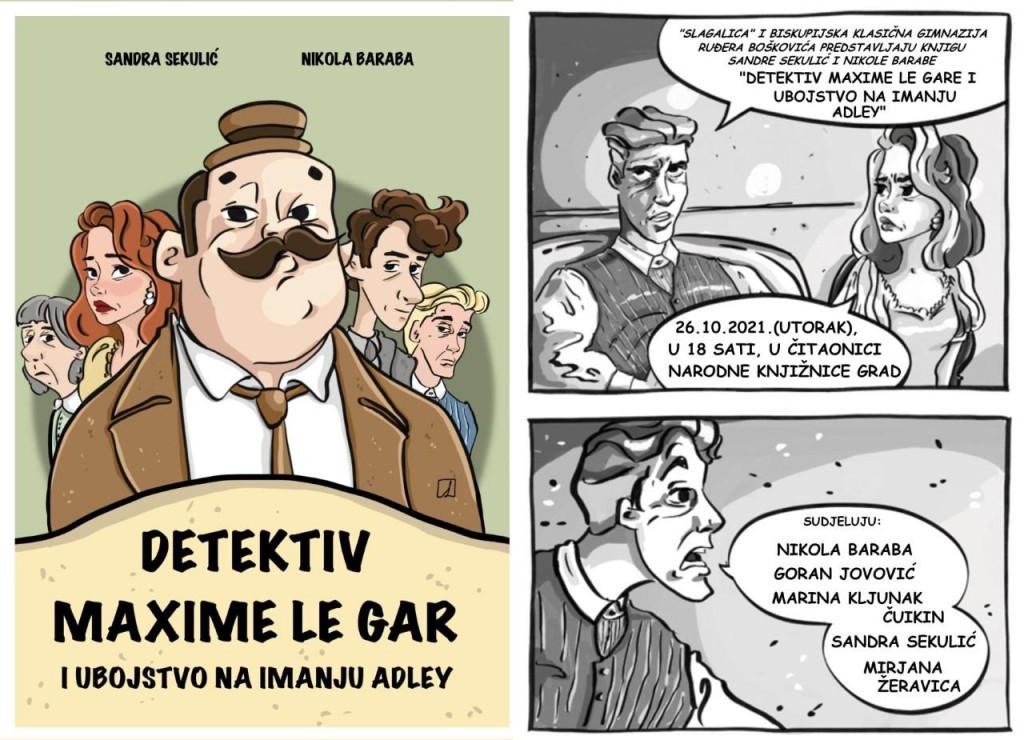 Predstavljanje knjige ''Detektiv Maxime Le Gar i ubojstvo na imanju Adley'' održat će se u utorak, 26. listopada 2021., u Čitaonici Narodne knjižnice Grad