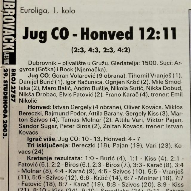 Dubrovački vjesnik, 29. studenog 2003. godine - Jug CO je sedam dana prije, u subotu, 22. studenog, dobio u Gružu Honved s 12:11. Nikša Dobud je prvi put igrao u Ligi prvaka, prvi put igrao skupa s Elvisom Fatovićem i Milom Smodlakom u najelitnijem europskom klupskom natjecanju